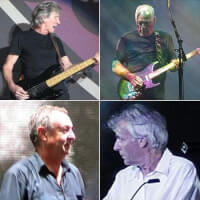 Boven: Roger Waters (links) & David Gilmour (rechts). Onder: Nick Mason (links) & Richard Wright (rechts) / Bron: One schism, EddieBerman, Jethro, Anarkangel, Wikimedia Commons (CC BY-SA-2.5)